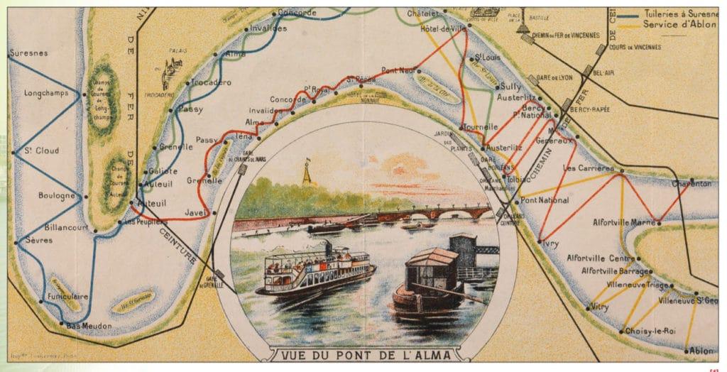 Plan des batobus de la Compagnie des bateaux parisiens